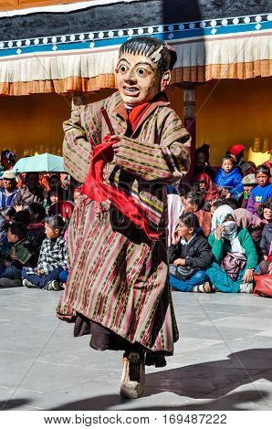 Dancing Man In Mask In Ladakh