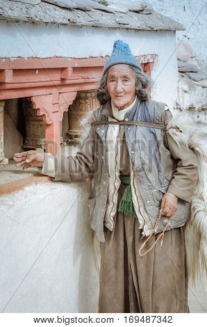 Old Woman With Blue Cap In Ladakh