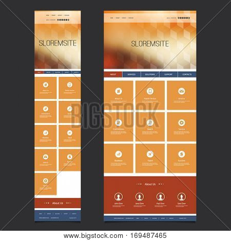 Responsive Modern Style One Page Website Template with Blurred Background - Desktop and Mobile Version