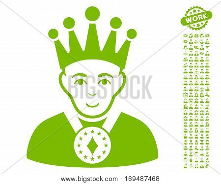 King icon with bonus people design elements. Vector illustration style is flat iconic eco green symbols on white background.