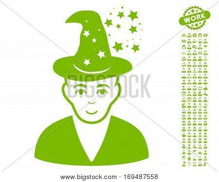 Magic Master pictograph with bonus avatar symbols. Vector illustration style is flat iconic eco green symbols on white background.