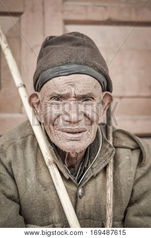 Man With Tanned Face In Arunachal Pradesh