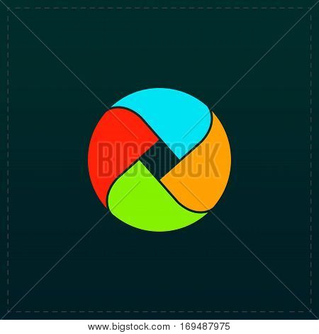 Loop circle. Color symbol icon on black background. Vector illustration
