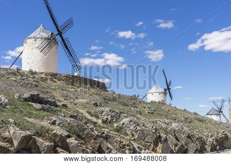 Culture, White wind mills for grinding wheat. Town of Consuegra in the province of Toledo, Spain