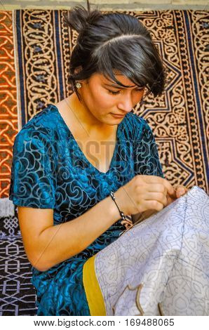 Embroidering Girl In Uzbekistan