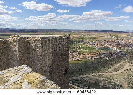 Ancient and majestic medieval castle. Town of Consuegra in the province of Toledo, Spain