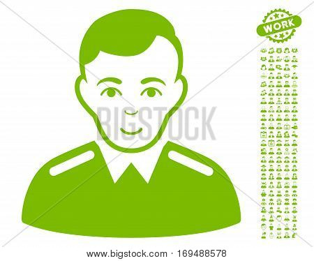 Officer icon with bonus people clip art. Vector illustration style is flat iconic eco green symbols on white background.