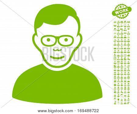 Pensioner icon with bonus avatar symbols. Vector illustration style is flat iconic eco green symbols on white background.