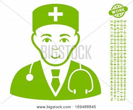 Physician pictograph with bonus occupation pictures. Vector illustration style is flat iconic eco green symbols on white background.