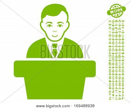 Politician icon with bonus men graphic icons. Vector illustration style is flat iconic eco green symbols on white background.