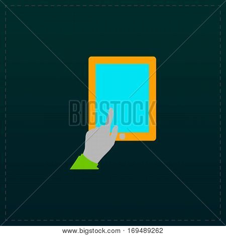Touch screen tablet. Color symbol icon on black background. Vector illustration