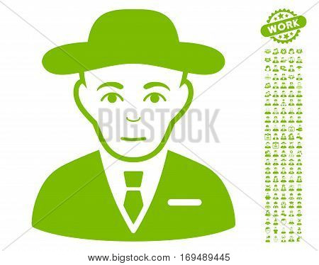 Secret Service Agent pictograph with bonus men clip art. Vector illustration style is flat iconic eco green symbols on white background.