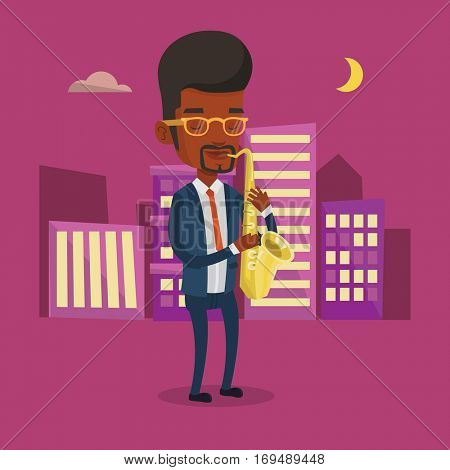 An african-american man with eyes closed playing on saxophone in the night. Musician playing on saxophone. Musician with saxophone in the city street. Vector flat design illustration. Square layout.