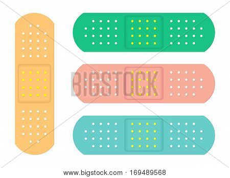 Four Colorful Sanitary Adhesive Plasters. Vector Illustration.
