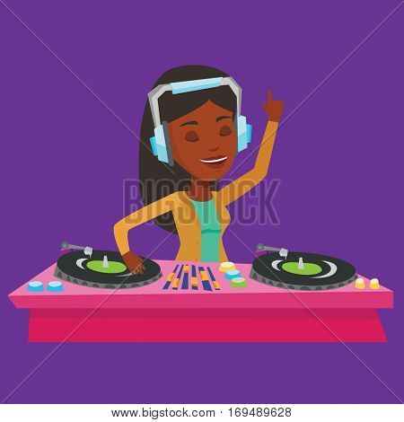 An african-american DJ in headphones at the party in night club. Young female DJ mixing music on turntables. Happy DJ playing and mixing music on deck. Vector flat design illustration. Square layout.