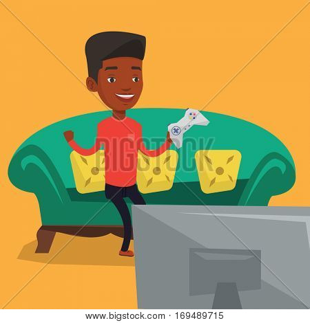 An african-american man playing video game. Excited man with console in hands playing video game at home. Man celebrating his victory in video game. Vector flat design illustration. Square layout.