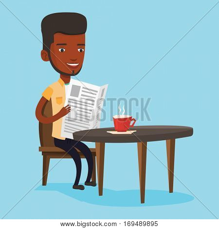 An african-american man reading newspaper in a cafe. Young man reading the news in newspaper. Man sitting with newspaper in hands and drinking coffee. Vector flat design illustration. Square layout.