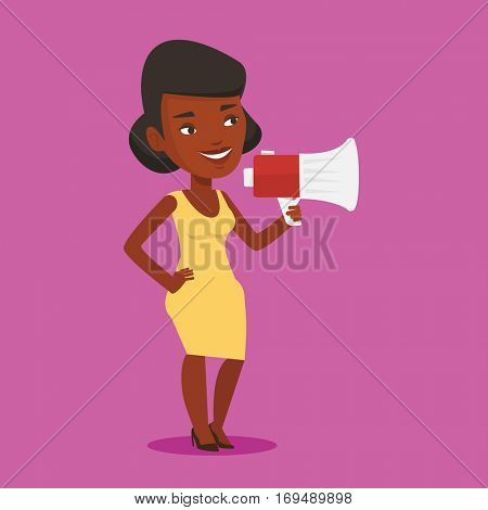 An african-american woman holding megaphone. Woman promoter speaking into a megaphone. Woman advertising using megaphone. Social media marketing concept. Vector flat design illustration. Square layout