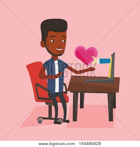 An african-american man looking for online date on the internet. Man using laptop and dating online. Man dating online and getting virtual love message. Vector flat design illustration. Square layout.