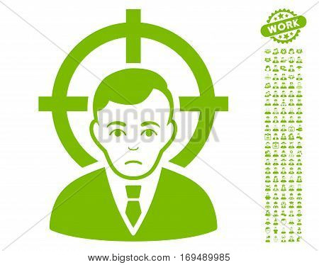 Victim Businessman pictograph with bonus occupation symbols. Vector illustration style is flat iconic eco green symbols on white background.