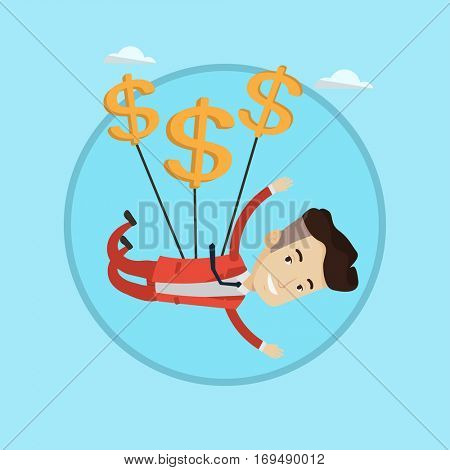 Businessman flying with dollar signs. Happy businessman gliding in the sky with dollars. Businessman using dollars as parachute. Vector flat design illustration in the circle isolated on background.