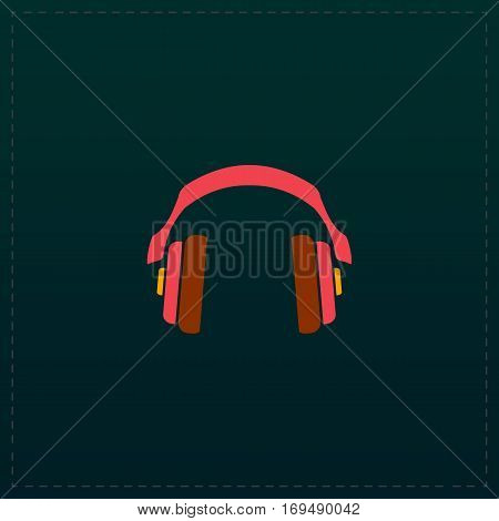 Retro headphone. Color symbol icon on black background. Vector illustration