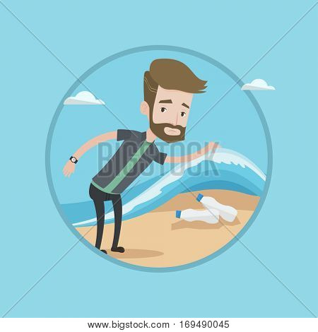 Hipster caucasian young man with beard showing plastic bottles under sea wave. Concept of water pollution and plastic pollution. Vector flat design illustration in the circle isolated on background.