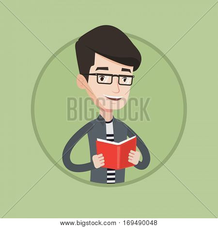 Smiling student reading a book. Cheerful male student reading a book and preparing for exam. Student holding a book in hands. Vector flat design illustration in the circle isolated on background.