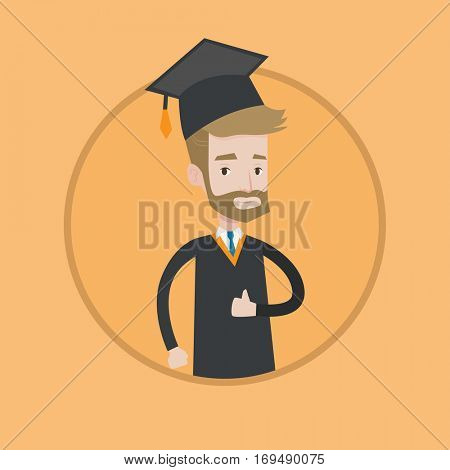 A happy graduate in cloak and graduation cap. A hipster graduate with the beard giving thumb up. Joyful graduate celebrating. Vector flat design illustration in the circle isolated on background.