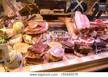 Munich, Germany - August 6, 2016: Meat counter in the Alois Dallmayr. Coffee and Food Store located near Marienplatz in Munich