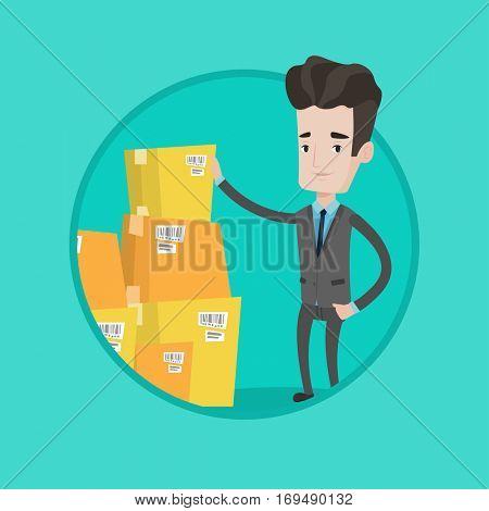 Businessman working in warehouse. Businessman checking boxes in warehouse. Businessman preparing goods for dispatch at warehouse. Vector flat design illustration in the circle isolated on background.