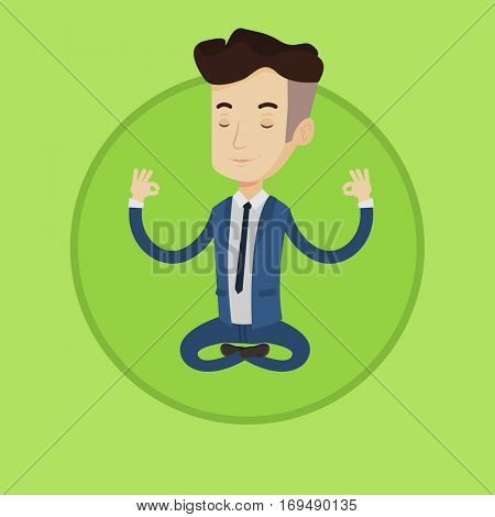 Young businessman with eyes closed meditating in yoga lotus position. Caucasian businessman relaxing in the lotus position. Vector flat design illustration in the circle isolated on background