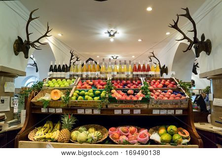 Munich, Germany - August 6, 2016: Showcase with fresh fruit in the Alois Dallmayr. Coffee and Food Store located near Marienplatz in Munich