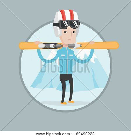 Smiling caucasian man carrying skis. Sportsman standing with skis on his shoulders on the background of mountain. Young man skiing. Vector flat design illustration in the circle isolated on background