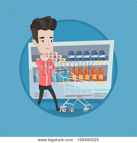 Man pushing an empty supermarket cart. Customer shopping at supermarket with cart. Caucasian man walking with cart in supermarket. Vector flat design illustration in the circle isolated on background.