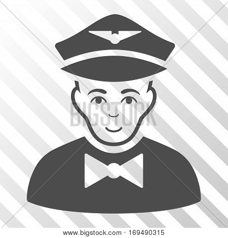 Gray Airline Steward interface pictogram. Vector pictograph style is a flat symbol on diagonally hatched transparent background.