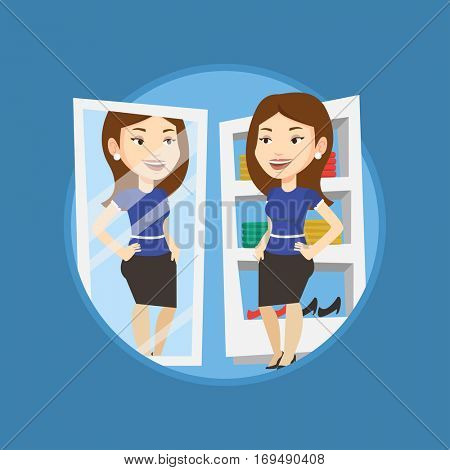 Young woman looking in a mirror at dressing room. Woman trying on skirt at dressing room. Woman choosing clothes in dressing room. Vector flat design illustration in the circle isolated on background.