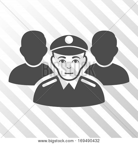 Gray Army Team interface pictogram. Vector pictogram style is a flat symbol on diagonal hatch transparent background.