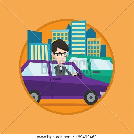 Angry caucasian man stuck in a traffic jam. Irritated man driving a car in a traffic jam. Agressive driver honking. Vector flat design illustration in the circle isolated on background.