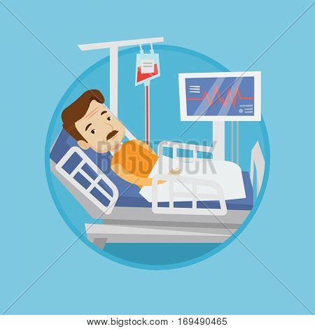 Caucasian patient lying in hospital bed with heart rate monitor. Patient during blood transfusion procedure. Vector flat design illustration in the circle isolated on background.