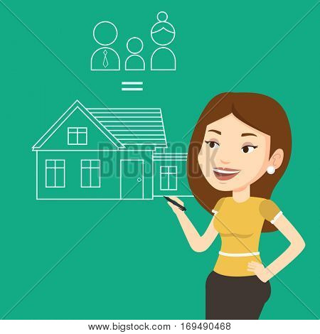 Young caucasian woman drawing family house. Smiling woman drawing a house with a family. Happy woman dreaming about future life in a new family house. Vector flat design illustration. Square layout.