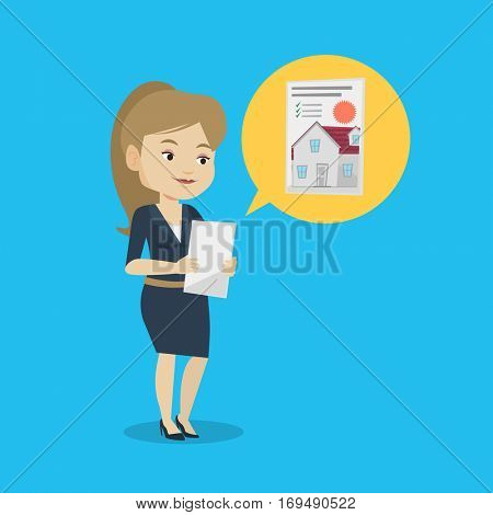 Woman looking at photo of a house on a tablet computer. Woman seeking for appropriate house on a tablet computer. Woman holding home purchase contract. Vector flat design illustration. Square layout.