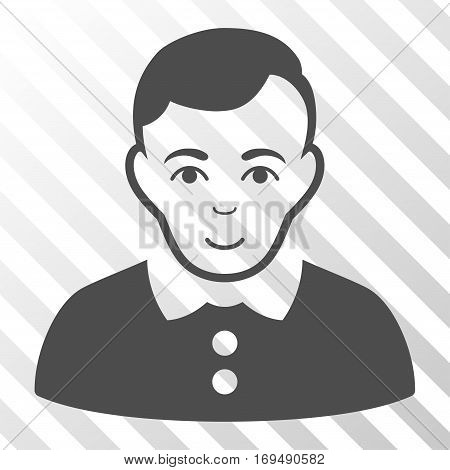 Gray Boy toolbar pictogram. Vector pictogram style is a flat symbol on diagonally hatched transparent background.