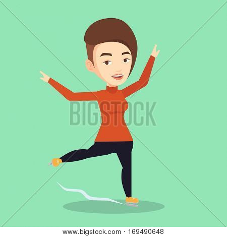 Caucasian female figure skater posing on skates. Professional female figure skater performing on ice skating rink. Young ice skater dancing. Vector flat design illustration. Square layout.