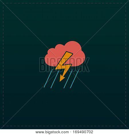 Cloud thunderstorm lightning rain. Color symbol icon on black background. Vector illustration