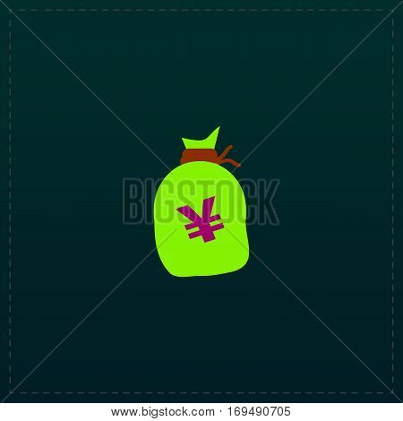 Money bag with Yen JPY. Color symbol icon on black background. Vector illustration