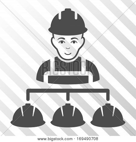 Gray Builder Management toolbar pictogram. Vector pictogram style is a flat symbol on diagonally hatched transparent background.