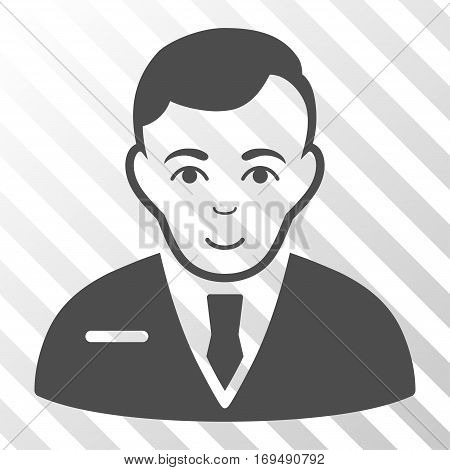 Gray Businessman interface icon. Vector pictograph style is a flat symbol on diagonally hatched transparent background.