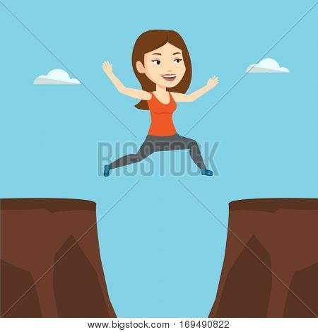 Caucasian sportswoman jumping across the gap from one rock to another. Happy smiling sportswoman jumping over rocks with gap. Young sportswoman running. Vector flat design illustration. Square layout.