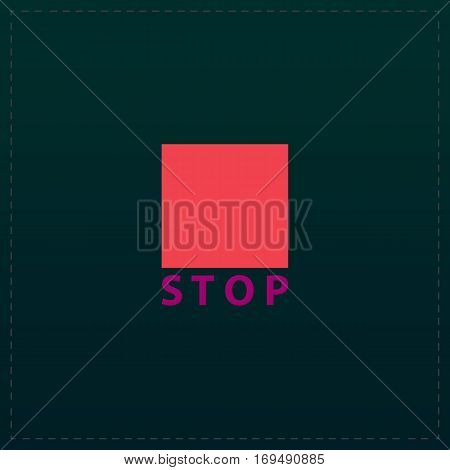 Stop button. Color symbol icon on black background. Vector illustration